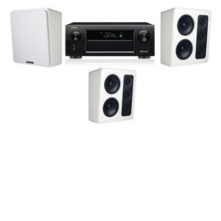 M&K Sound MP300 White Monitor Speaker 3.0 Denon AVR-X5200W