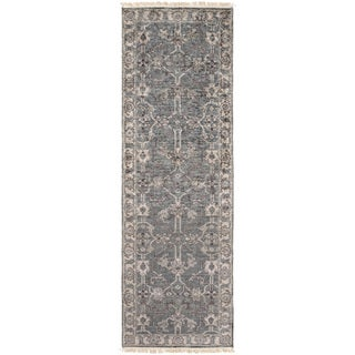 Hand-Knotted Bingham Border Viscose Rug (2'6 x 8')