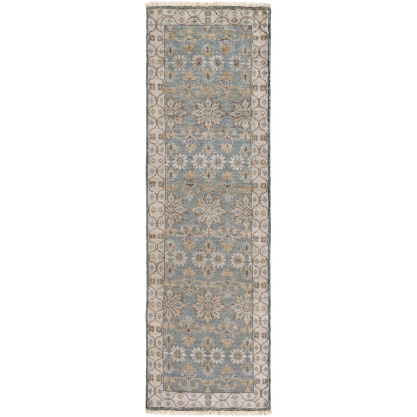 Hand-Knotted Bingley Border Viscose Area Rug (2'6 x 8')