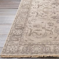 """Hand-Knotted Brading Border Viscose Area Rug - 2'6"""" x 8'"""