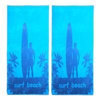 Superior Oversize Jacquard Cotton Beach Towels - Surfbeach-Blue (Set of 2)