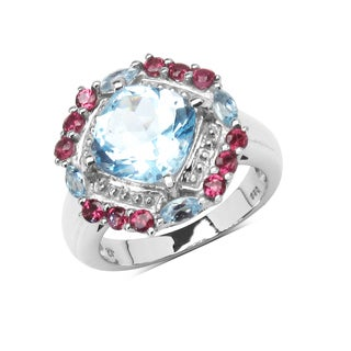 Olivia Leone Sterling Silver 4 3/4ct Blue Topaz and Rhodolite Ring