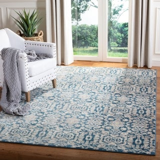 Safavieh Sofia Vintage Damask Blue/ Beige Distressed Rug (5'1 x 7'7)