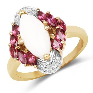 Malaika 14k Yellow Goldplated Sterling Silver 1 7/8ct Opal and Rhodolite Ring
