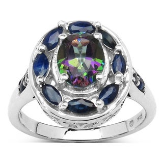 Malaika Sterling Silver 2 3/4ct Mystic Topaz and Blue Sapphire Ring