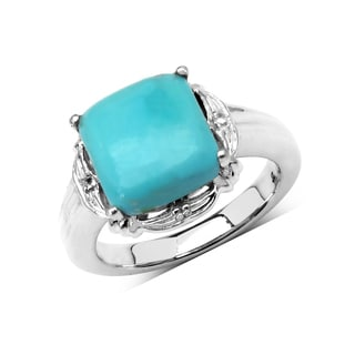 Olivia Leone Sterling Silver 3 1/3ct Turquoise and White Topaz Ring
