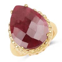 Olivia Leone 14k Yellow Goldplated Sterling Silver 18 1/3ct Dyed Ruby Ring
