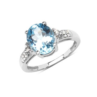 Malaika Sterling Silver 3 2/5ct Blue Topaz and White Topaz Solitaire Ring