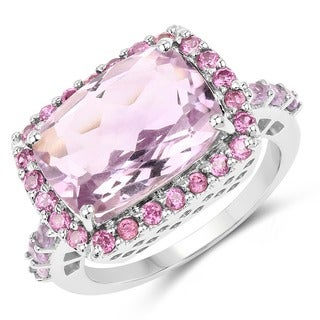 Olivia Leone Sterling Silver 7 1/2ct Pink Amethyst and Rhodolite Ring