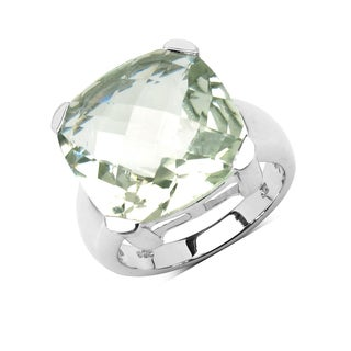 Olivia Leone Sterling Silver 12 3/4ct Green Amethyst Ring