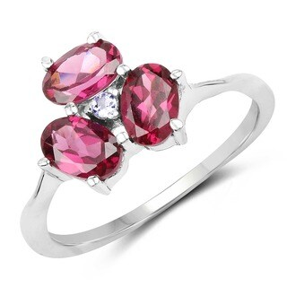 Olivia Leone Sterling Silver 1 3/4ct Rhodolite and Tanzanite Ring