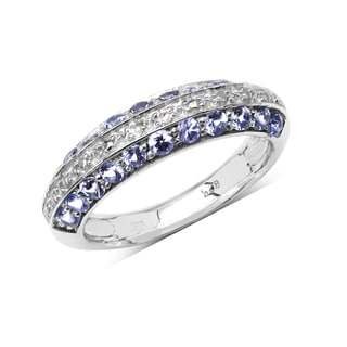 Olivia Leone Sterling Silver 3/4ct Tanzanite and White Topaz Ring