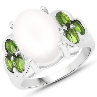 Olivia Leone Sterling Silver 5 2/5ct Opal and Chrome Diopside Ring