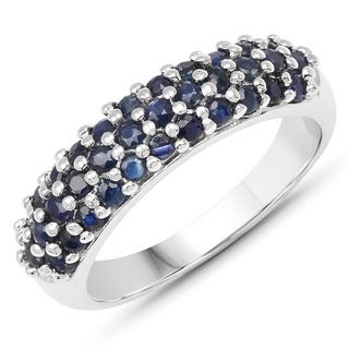 Olivia Leone Sterling Silver 1 1/2ct Blue Sapphire Cluster Ring