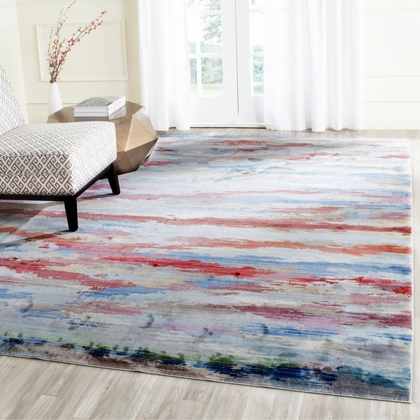 Safavieh Valencia Multi Abstract Watercolor Distressed Silky Polyester Rug - 8' x 10'