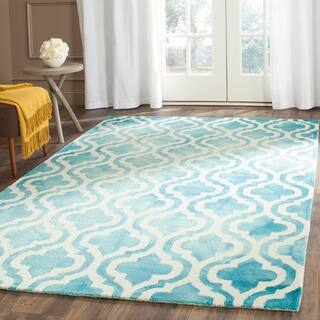 Safavieh Handmade Dip Dye Watercolor Vintage Turquoise/ Ivory Wool Rug (4' x 6')|https://ak1.ostkcdn.com/images/products/10468795/P17559377.jpg?impolicy=medium