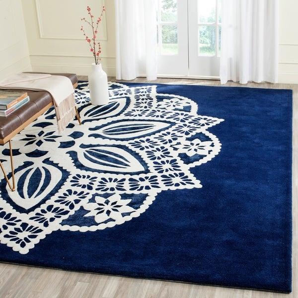 Safavieh Handmade Allure Navy/ Ivory Wool Rug - 8' x 10'