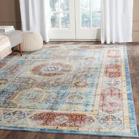 Safavieh Valencia Blue/ Multi Center Medallion Distressed Silky Polyester Rug (8' x 10')