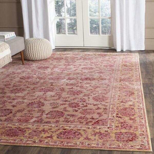 Safavieh Valencia Pink/ Multi Distressed Silky Polyester Rug - 8' x 10'