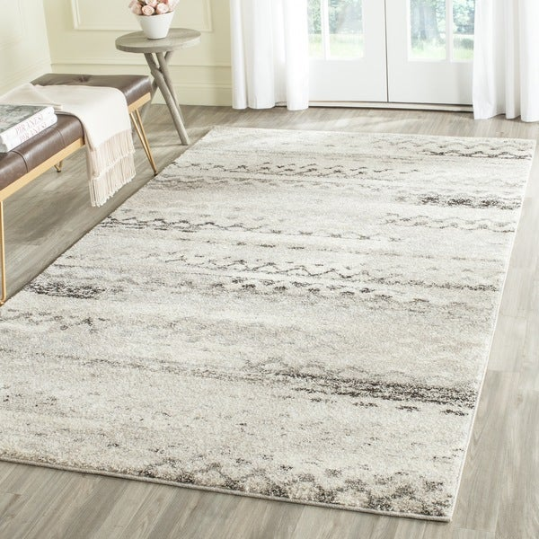 Safavieh Retro Modern Abstract Cream/ Grey Distressed Area Rug   8u0026#x27; X