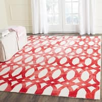 Safavieh Handmade Dip Dye Watercolor Vintage Ivory/ Red Wool Rug - 5' x 8'