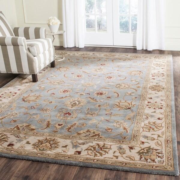 """Safavieh Handmade Royalty Blue/ Beige Wool Rug - 6'7"""" x 9'8"""""""
