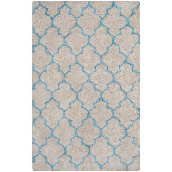 Safavieh Handmade Barcelona Shag Cream/ Blue Trellis Polyester Rug - 5' x 8'