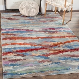 Safavieh Valencia Multi Abstract Watercolor Distressed Silky Polyester Rug (5' x 8')