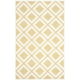 Safavieh Handmade Chatham Gold/ Ivory Wool Rug (4' x 6')