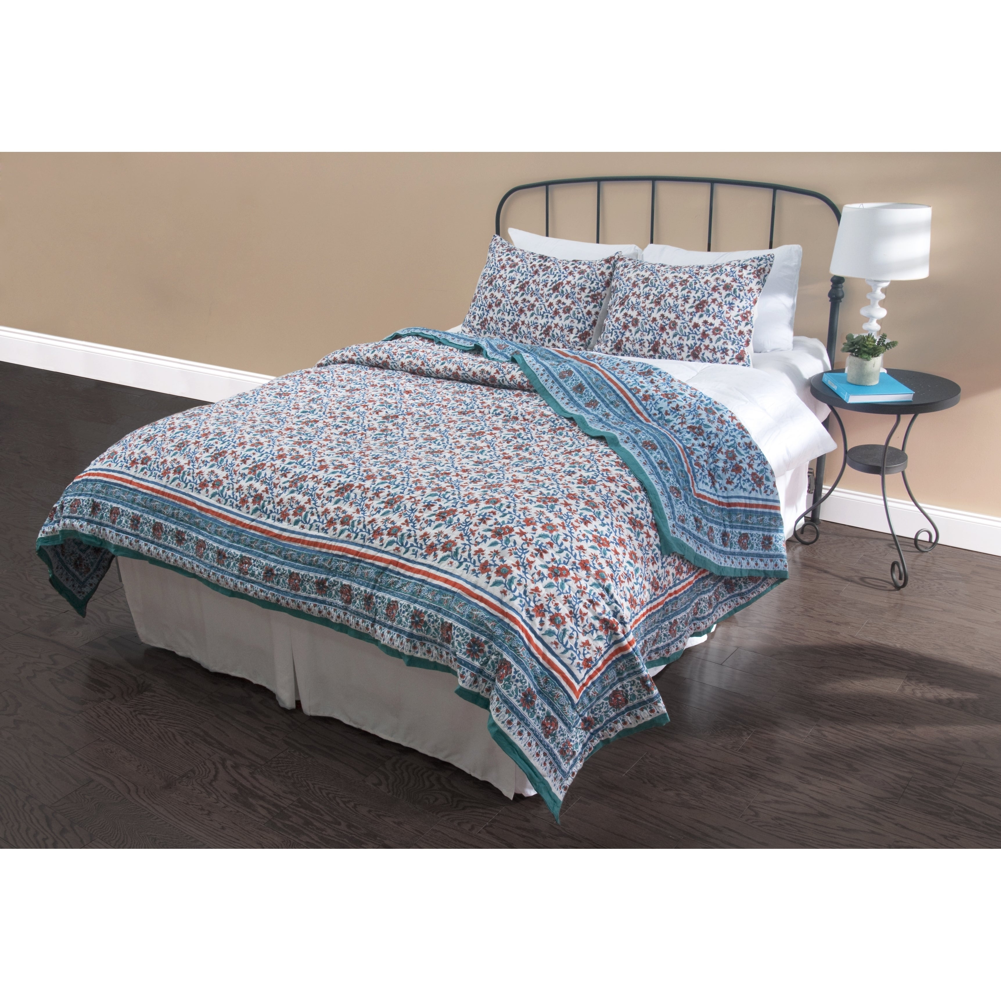 Shop Rizzy Home Grey And Blue Quilt Set Overstock 10468890