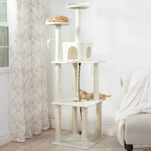 PETMAKER Sleep and Play Off-White Wood and Carpet Large Cat Toy Tree