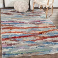 Safavieh Valencia Multi Abstract Watercolor Distressed Silky Polyester Rug - 4' x 6'