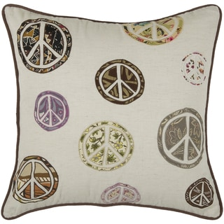 Rizzy Home Natural Peace Sign Square Pillow Cover