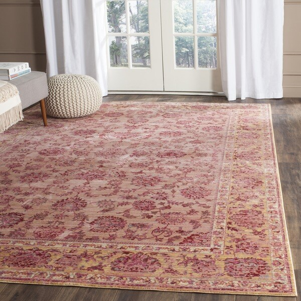 Safavieh Valencia Pink/ Multi Distressed Silky Polyester Rug (4' x 6')
