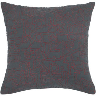 Rizzy Home Grey And Pink Square Pillow Cover