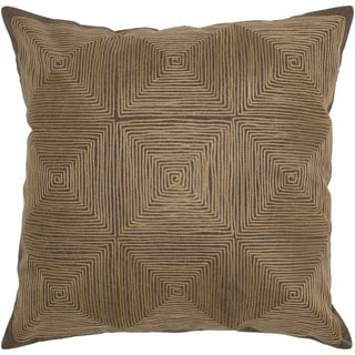 Rizzy Home Brown Square Spiral Square Pillow Cover