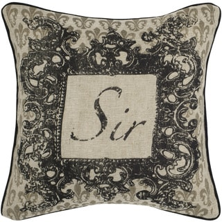 Rizzy Home Beige Sir Square Pillow Cover