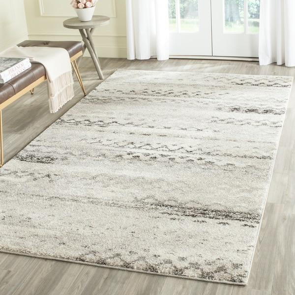 safavieh retro modern abstract cream grey distressed area rug 4u0026x27 x