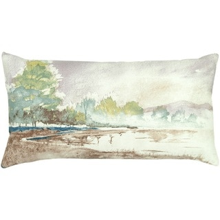 """Rizzy Home 11"""" x 21"""" Watercolor Print Accent Pillow"""