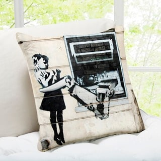 Banksy Art 'Cash Machine Girl' London Throw Pillow