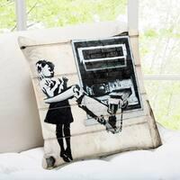 Banksy Art 'Cash Machine Girl' London Throw Pillow