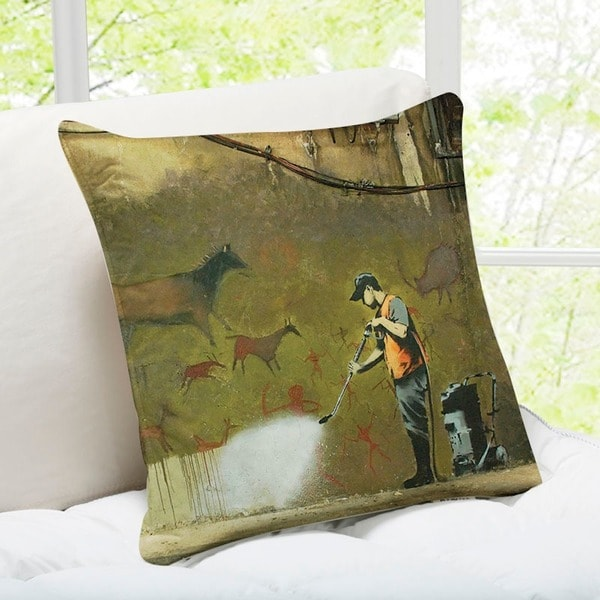 Banksy Art 'Cave Painting Removal' London Throw Pillow