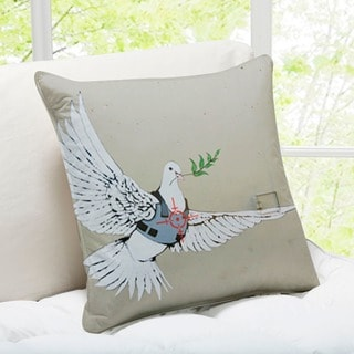 Banksy Art 'Dove of Peace' Bethlehem Throw Pillow
