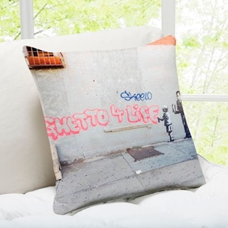 Banksy Art 'Ghetto for Life' New York Throw Pillow