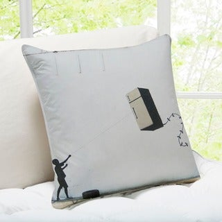 Banksy Art 'Fridge Kite' New Orleans Throw Pillow