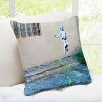Banksy Art 'Girl Skipping Rope' Brooklyn Throw Pillow