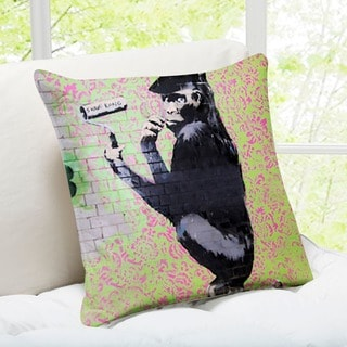 Banksy Art 'Gorilla Shave Kong' London Throw Pillow