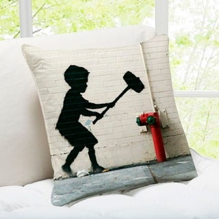 Banksy Art 'Hammer Boy' Manhattan, NewYork Throw Pillow