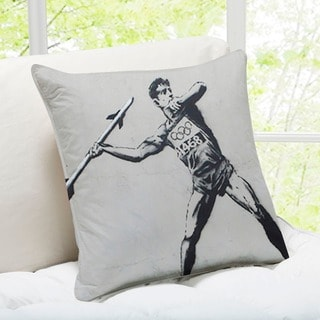 Banksy Art 'Javelin Thrower' London Throw Pillow