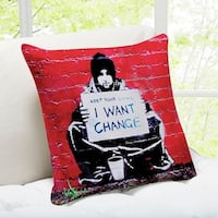 Banksy Art 'Keep Your Coins I want Change' Melbourne Throw Pillow